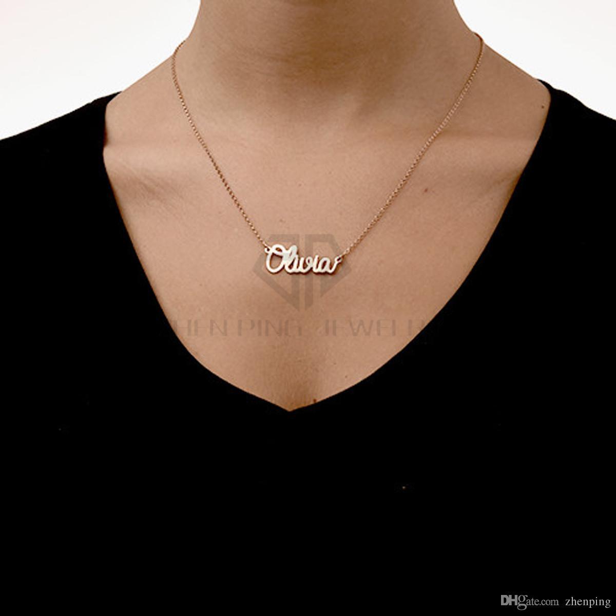 Freie Edelstahlqualität des Verschiffen-316L personifizieren kursive Namenshalskette Kundengebundene Namensschild-Halskette mit schwarzem Beutel