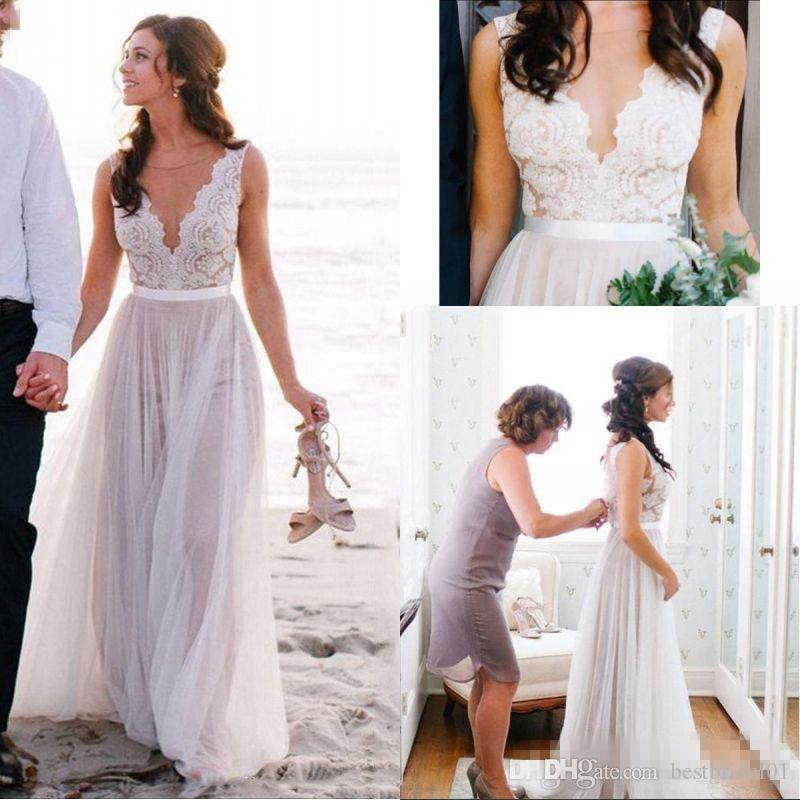 Discount Best Selling Boho Beach A Line Wedding Dresses Elegant Lace V Neck Floor Length Tulle Cheap Bridal Gowns Covered Button Plus Size