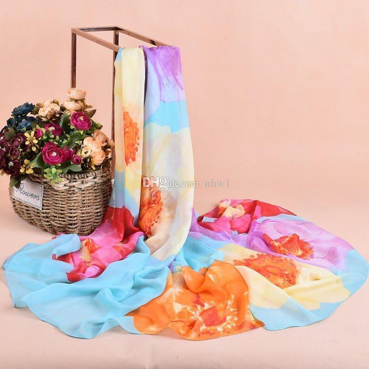 Novas Mulheres Personalidade Flores Imprimir Sillk Chiffon Cachecóis 100 * 180 cm Grande Longo Cachecol Xales Para Mulheres Senhoras Wraps