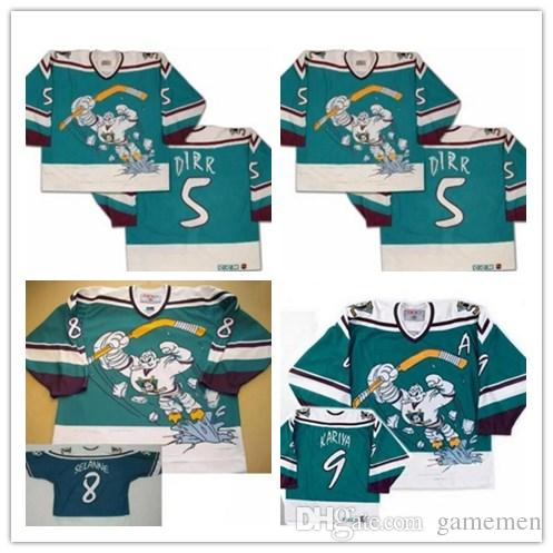6eeb3fe5a ... inexpensive best anaheim ccm mighty ducks wild wing jersey 5 dirr 8 teemu  selanne 9 paul