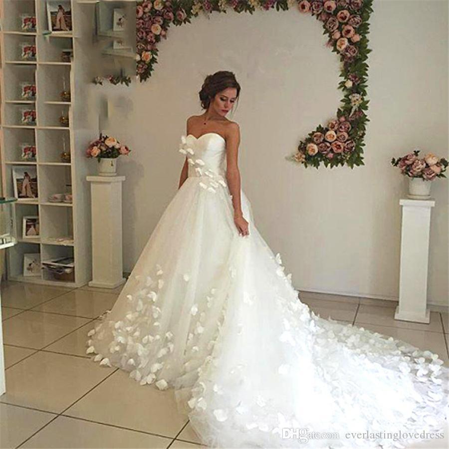 Großhandel Erstaunlich Traumhochzeit Kleid Schmetterlings Ultra Lange Zug  Frauen Hochzeit Formale Kleider Romantic Chic Brautkleid Vestidos De Noiva