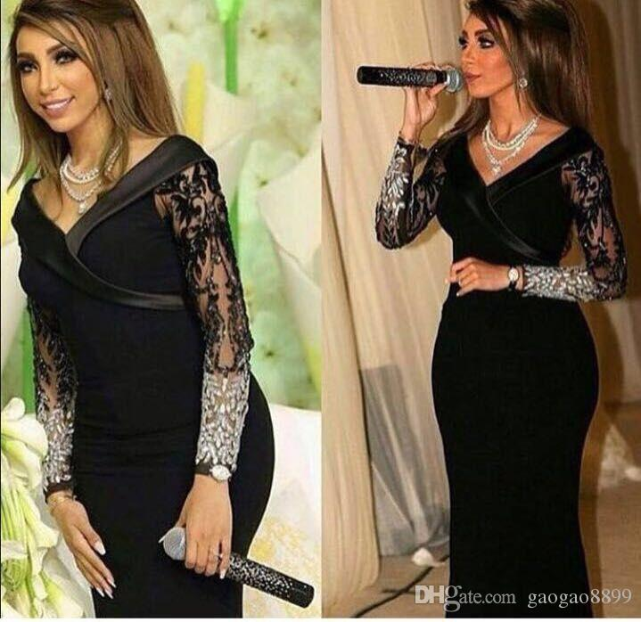 Saudi Arabia Long Black Evening Dresses 2017 Sexy V-neck Long Sleeve Lace Beaded Mermaid Trumpet Prom Formal Pageant Gowns