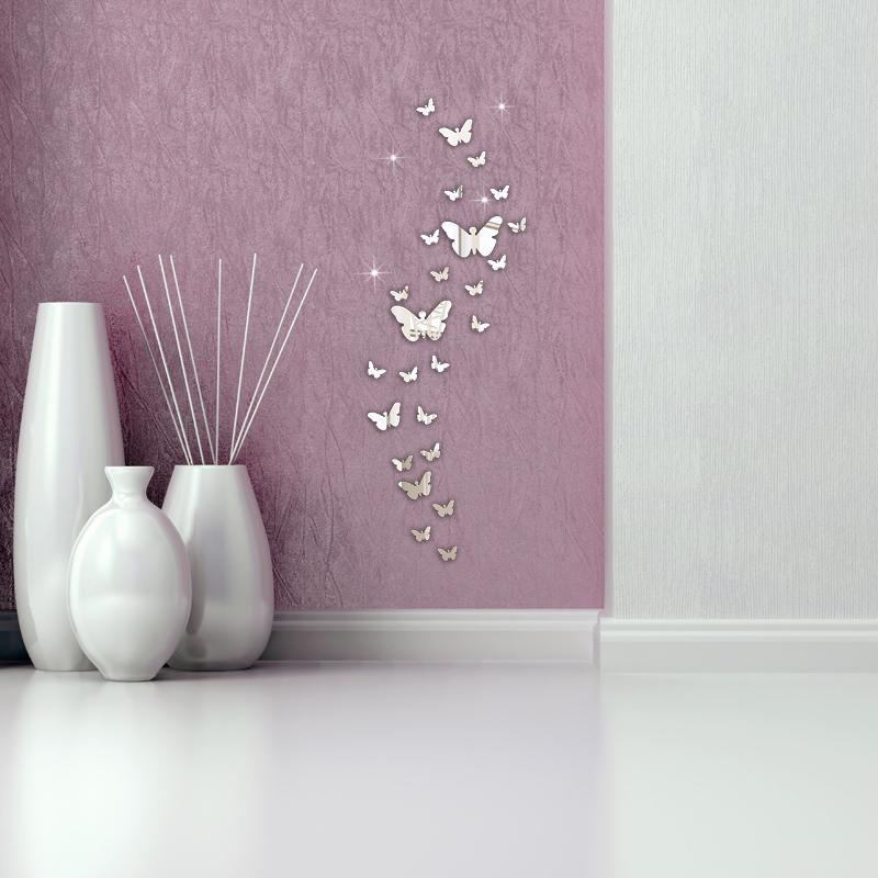 3D Wall Sticker Butterfly Removable Home Decoration Mirror Sticker Wall Decor Vinyl Art Living Room Decor Home stickers