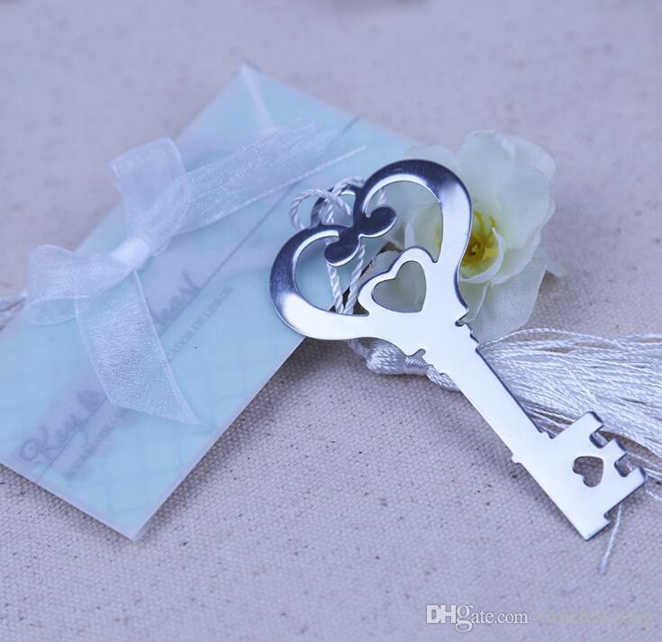 Marcador en forma de llave Corazón hueco con borla blanca Diseño de marcador Exquisito Boda Baby Shower Party Favores Regalos
