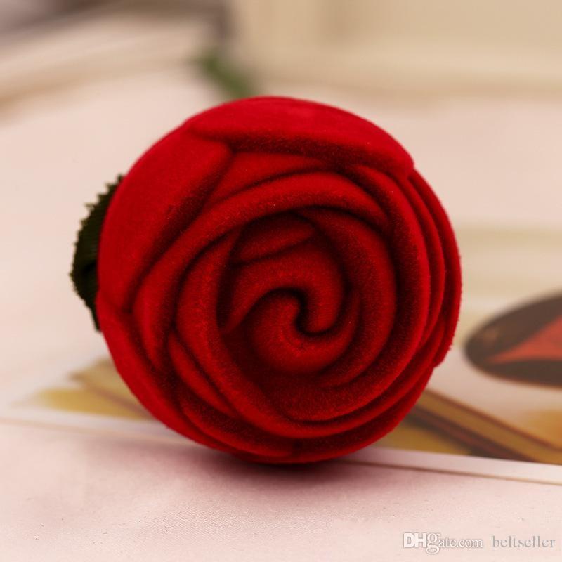Romantische rote Rose Blume samt Ehering Halter Ohrringe Lagerung Vitrine Anhänger Schmuck Geschenk Box Valentinstag Geburtstag Geschenke