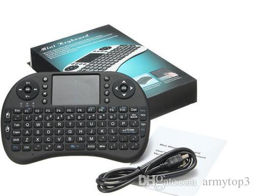 Rii i8 mini Kablosuz klavye android tv kutusu oyun için usb Hava fare Ile Touchpad Için 2.4G Akıllı kutu mxq