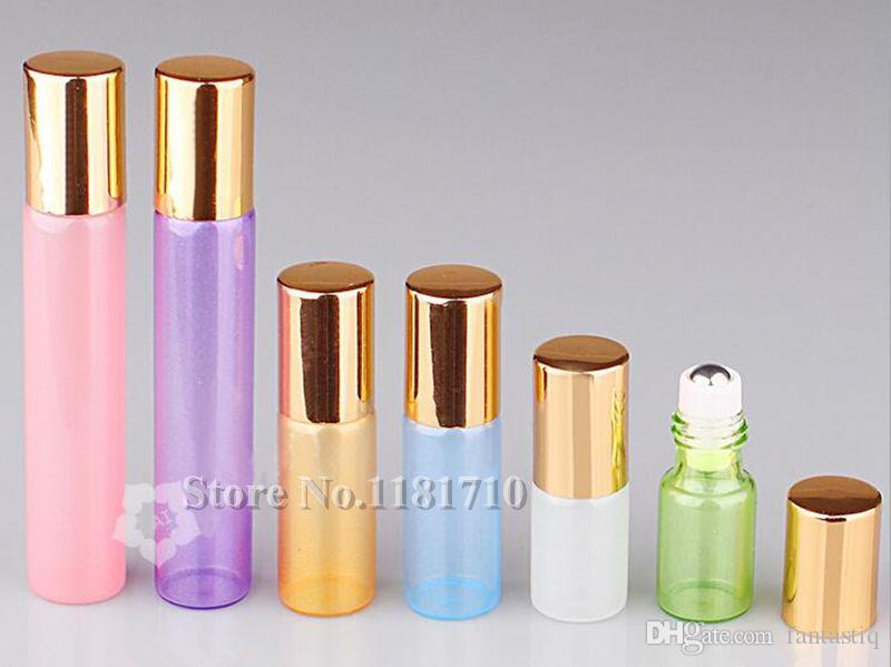 Красочные 3 мл 5 мл 10 мл 15 мл духи стекла рулон на бутылке эфирные масла бутылка с металлическим шариком ролика тонкого стекла пробирки