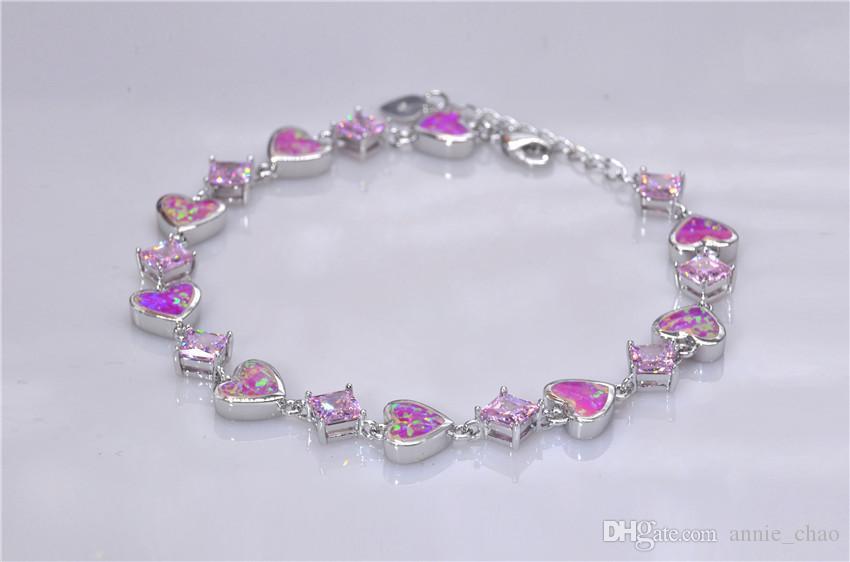 Vendita al dettaglio all'ingrosso moda 7.5 pollici fine Rinbow rosa fuoco opale braccialetto 925 gioielli in argento sterling le donne _DSC3179Wholesale al dettaglio