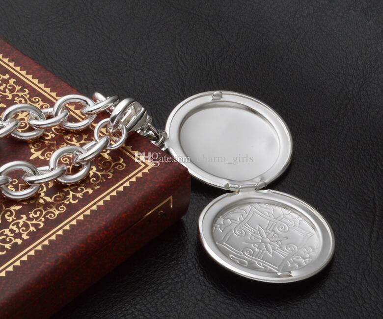 2017 المبيعات الساخنة الأقسام 925 الفضة اللوحات الكلاسيكية صورة مربع قلادة سوار رجل امرأة قلادة سوار قلادة عشاق المجوهرات مجموعة