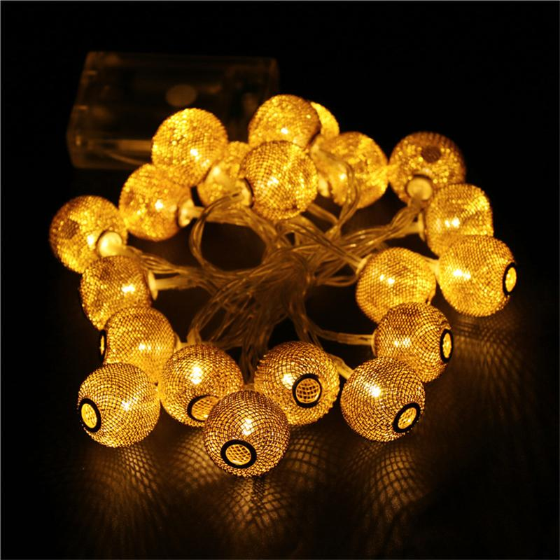 led christmas lights 20leds halloween rattan ball string iron wire cell lamp fairy lights wedding party decoration gold silver led lights christmas lights