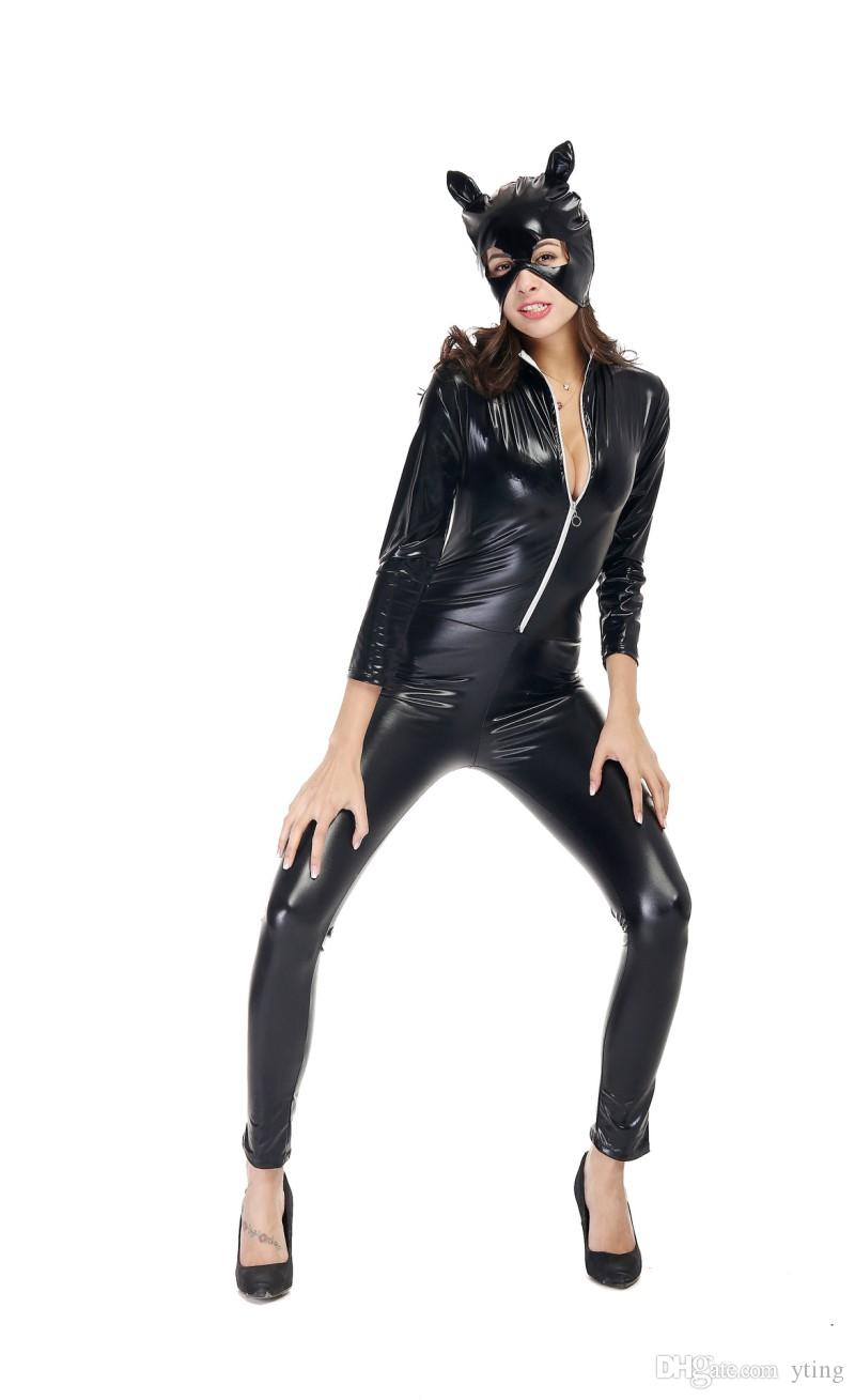 Halloween Women Black Leather Lingerie Bodysuits Erotic Latex Catsuit Catwomen Costume Sexy Black Wet Look Long Sleeve Bodysuit