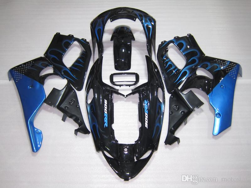 Motorcycle Fairing kit for Honda CBR 900RR 1996 1997 blue flames black fairings set for CBR900RR 96 97 OT07