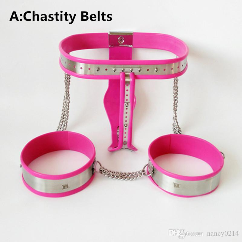 Chastity Belt with Thigh Ring Anal Pussy Plug Stainless Steel BDSM Bondage Restraints Lingerie SM Sex Games Toys for Women G7-5-7