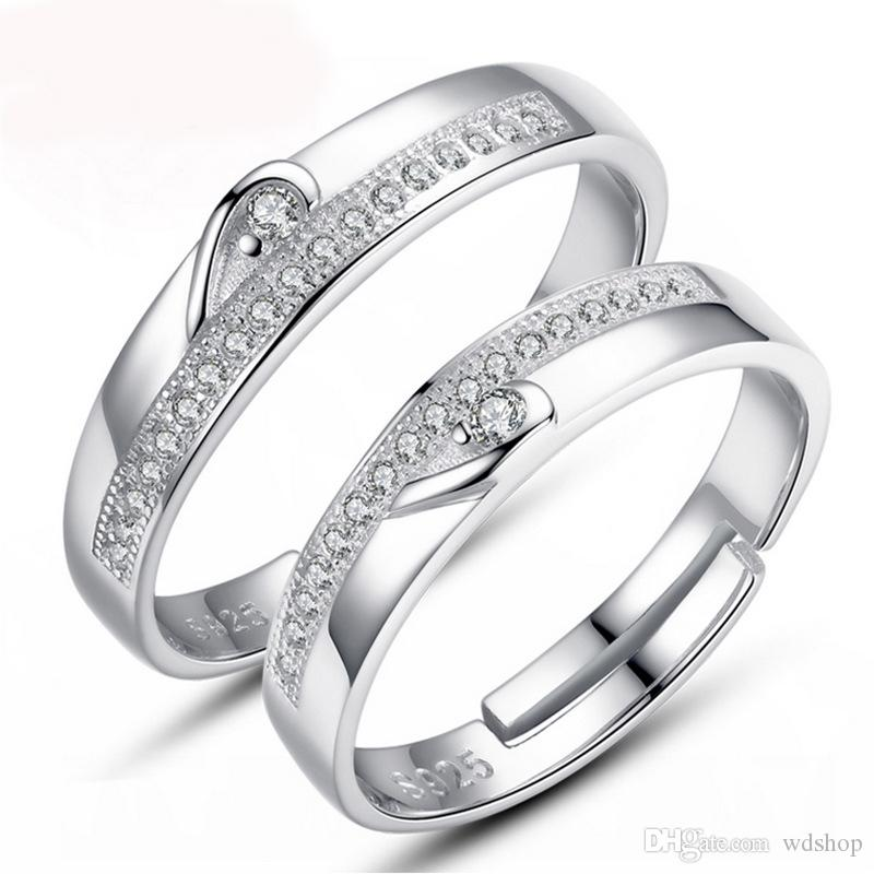 2018 fashion jewelry white gold plated half heart simple circle 2018 fashion jewelry white gold plated half heart simple circle real love couple ring wedding rings engagement rings promise jewelry from wdshop junglespirit Choice Image