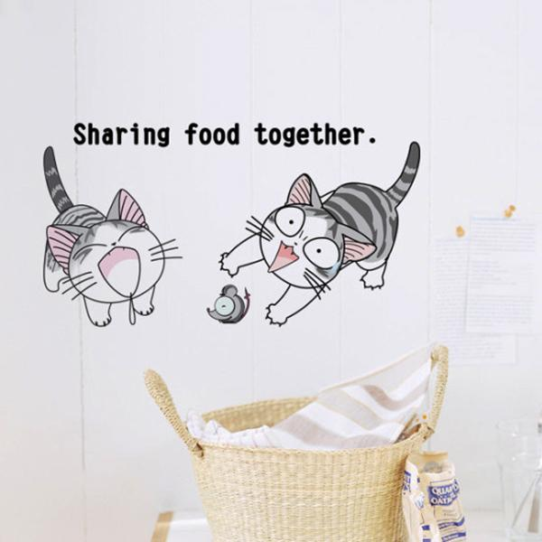 Cat Wall Art cat walls stickers baby room wall decals creative style diy