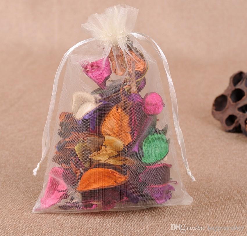 Sıcak Satış! İpli Organze Hediye Çanta Ile renkli 100 ADET gazlı bez şeker Çanta ücretsiz kargo
