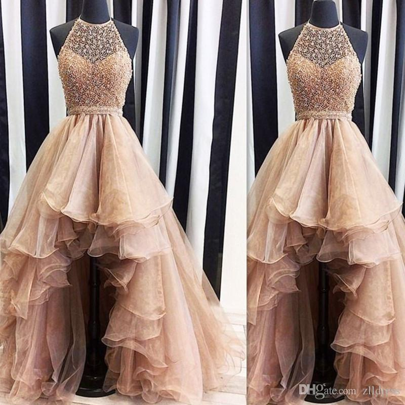 Gold Halter High Low Prom Dresses