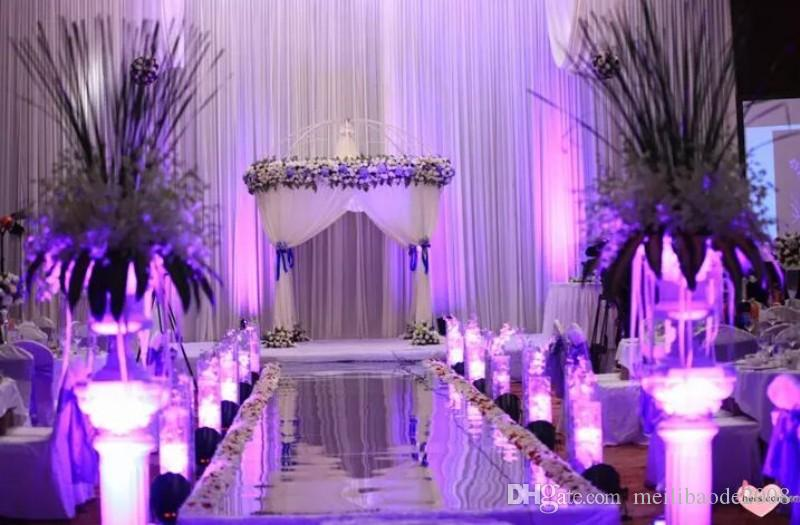 New Arrival 1m / 1.2m Wide Shiny Wedding Centerpieces Decor Runner Aisle Silver / Gold Plastic Mirror Carpet MYY