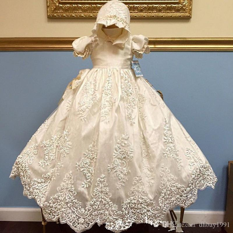 b856793cf 2019 Infant Baby Girls Baptism Gown Any Size White Ivory Lace Tulle  Cathedral Christening Dress With Bonnet From Dhbay1991, $62.08 | DHgate.Com