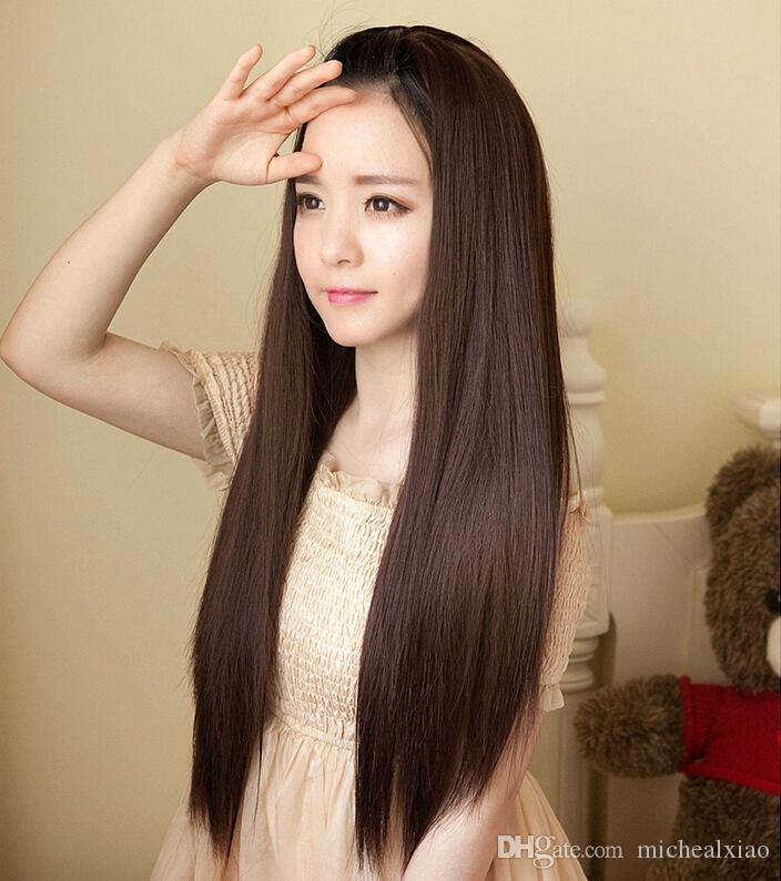 Long Straight Hair Wig Half A Head Without A Bang Fluffy Face Black