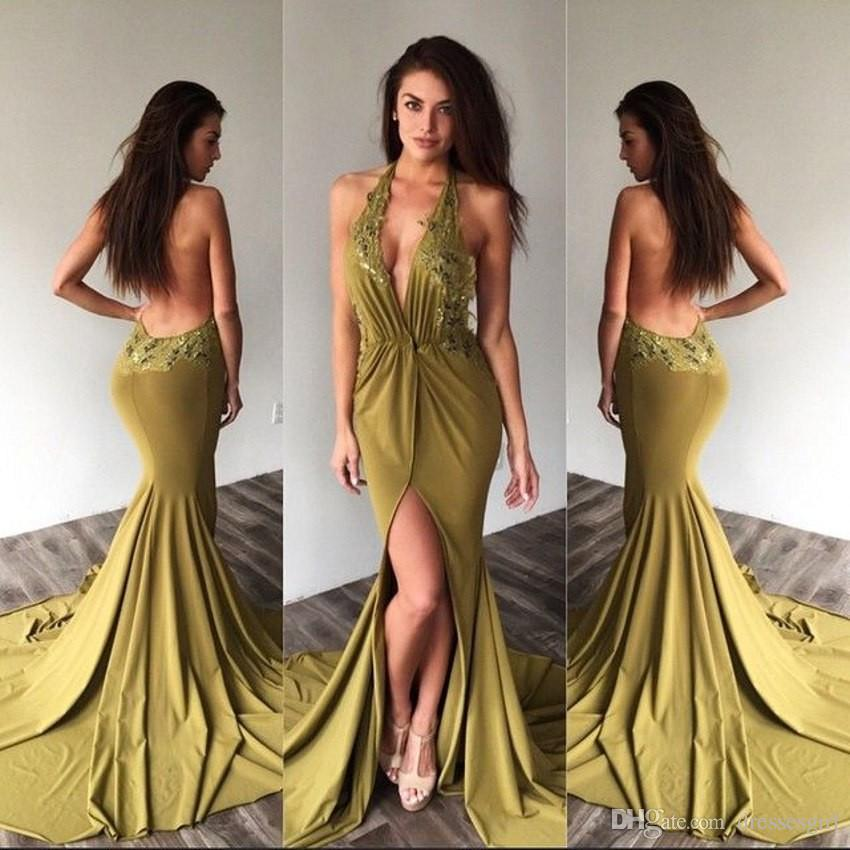 2017 New Spring Front Split Mermaid Prom Dresses Halter Neck Lace ...