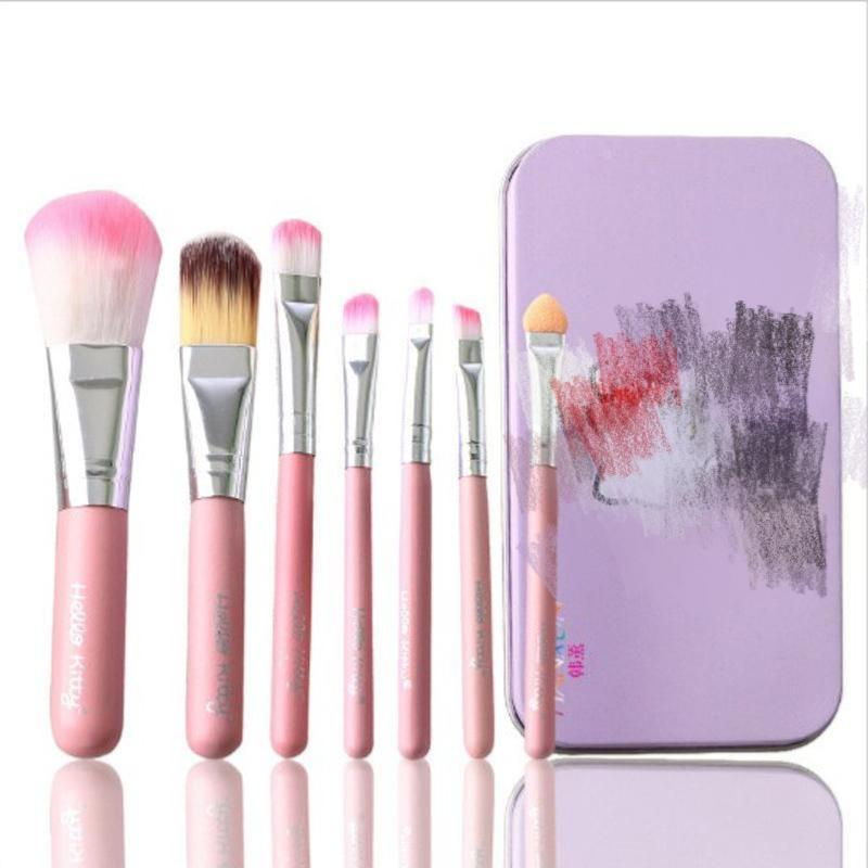 Hot Pro Brochas Hell o Ki tty Maquillaje Pinceles de maquillaje Set Kit Hierro Professional Facial Brushes caja de Metal Pink Cosmetic Gift