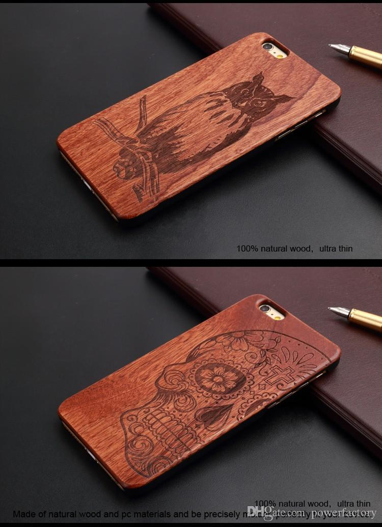 Cubierta de caja de madera de la nuez del vintage natural retro para Iphone 7 6 6S Plus 5S Caja de madera del teléfono móvil de bambú de la PC dura