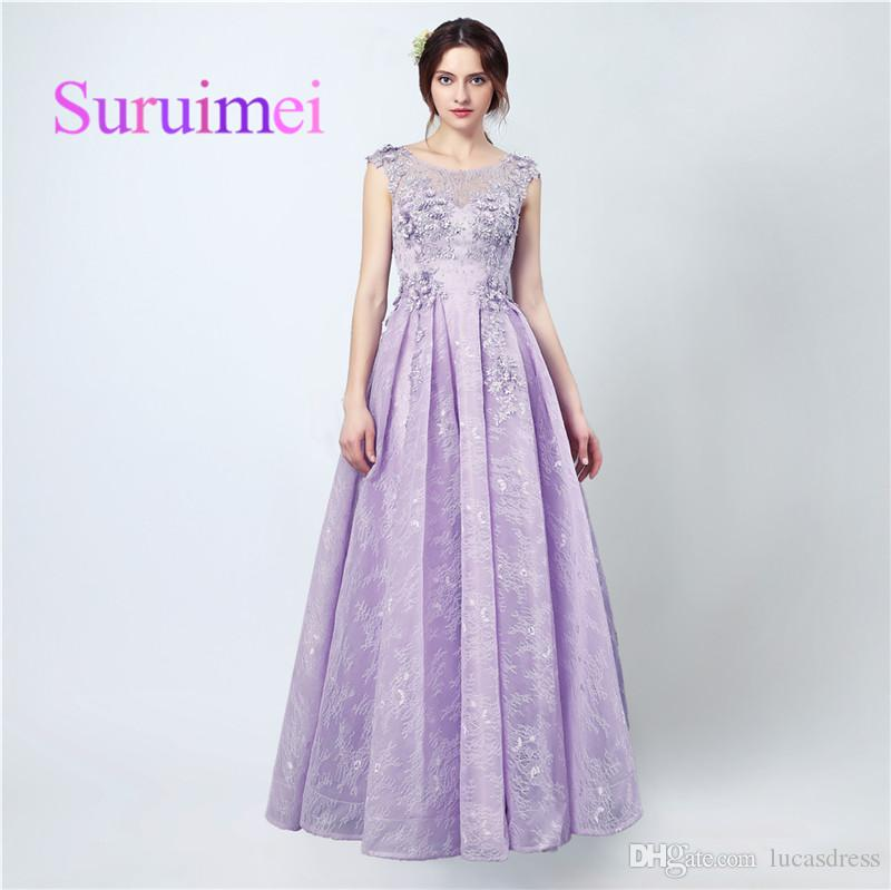 Evening Romantic Long Dresses Scoop Lace-up Backless Floor Length With Beaded Sequin And Pleats Prom Gowns