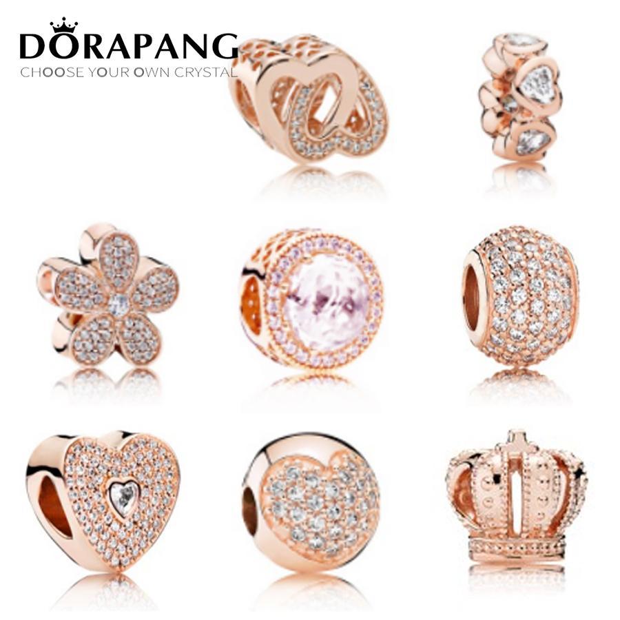 DORAPANG Rose Gold Charms Beads Fits Bracelets 925 Sterling Silver ... 85570e559d8f