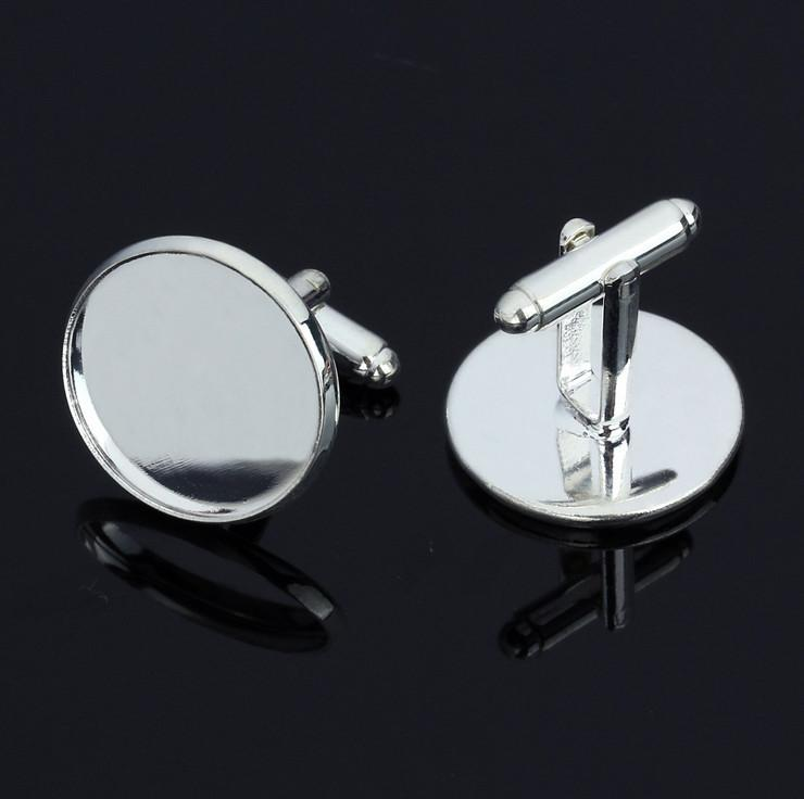 Antique Bronze Plated cufflinks Blank with round bezel setting match 12mm cabochon Wholesale