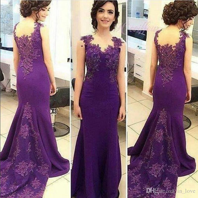 Compre Largo Sirena Púrpura Vestidos De Noche Tapa Manga Appliques ...