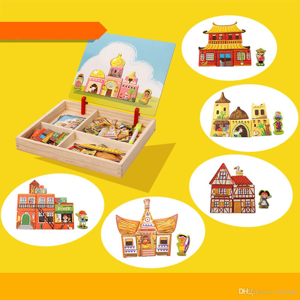 Children Wooden Puzzles Circus Buildings Multifunctional Magnetic Kids Puzzle Drawing Board Educational Toys