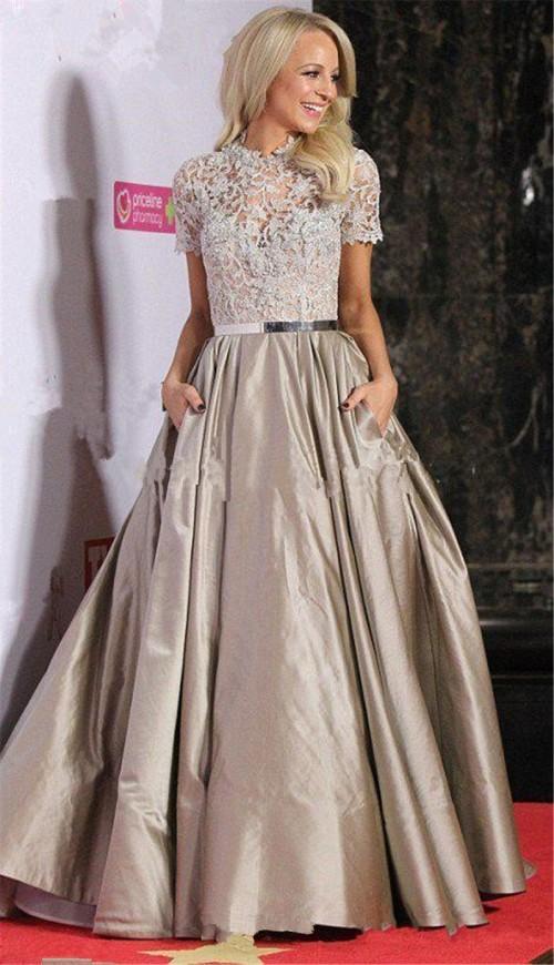 Soirée en dentelle élégante avec des robes longues de poche Party Celebrity Robes formelles Robes de bal 2020 robe pour femmes Robe de festa