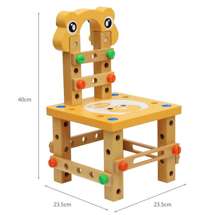 Niños multifuncional desmontaje de madera herramienta silla 40 * 23.5 * 23.5 cm niños juguetes de juguete de desarrollo DIY juguetes niños niñas regalos EMS DHL
