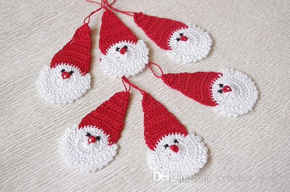 Set of 12 Crochet Santa Claus Christmas decorations Hanging Christmas ornaments Cotton holiday ornaments Crochet white Christmas