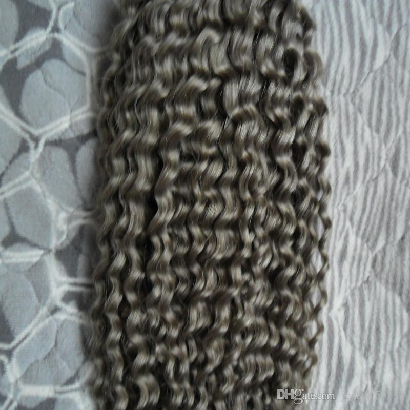 브라질 곱슬 곱슬 해리 실버 그레이 인간의 머리 짜다 100g 브라질 변태 곱슬 버진 머리카락