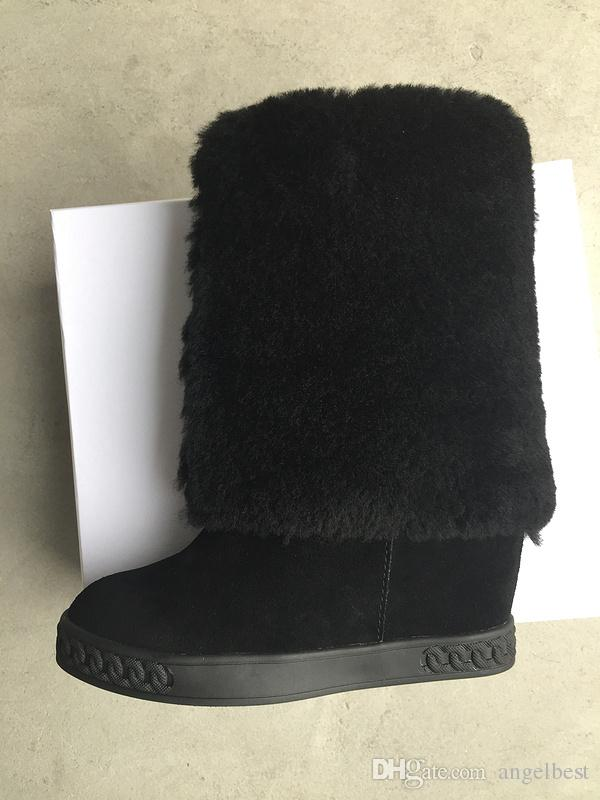 hot selling fashion boots women height increasing shoes fur inside warm boots ankle winter shoes suede leather wedges sneakers high tops