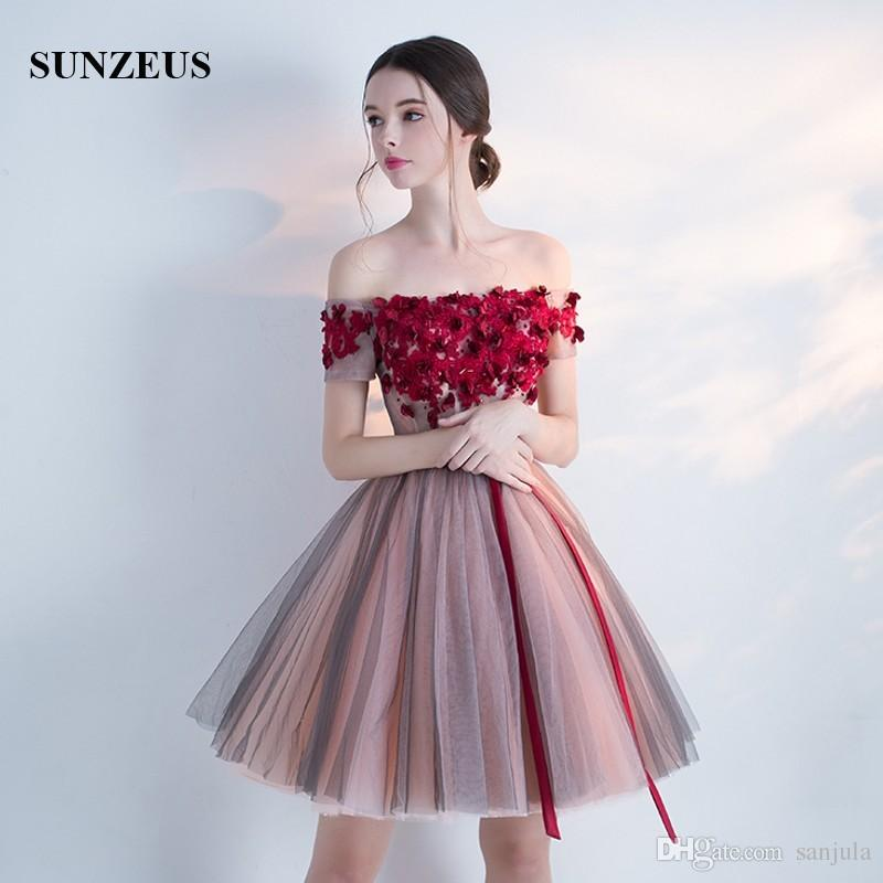08baa3dd7b00 New Arrival Prom Party Dresses 2017 Short Tutu Skirt Puffy Tulle Bateau Off  Shoulder Homecoming Dresses Red Appliques Flowers Summer Dress ...