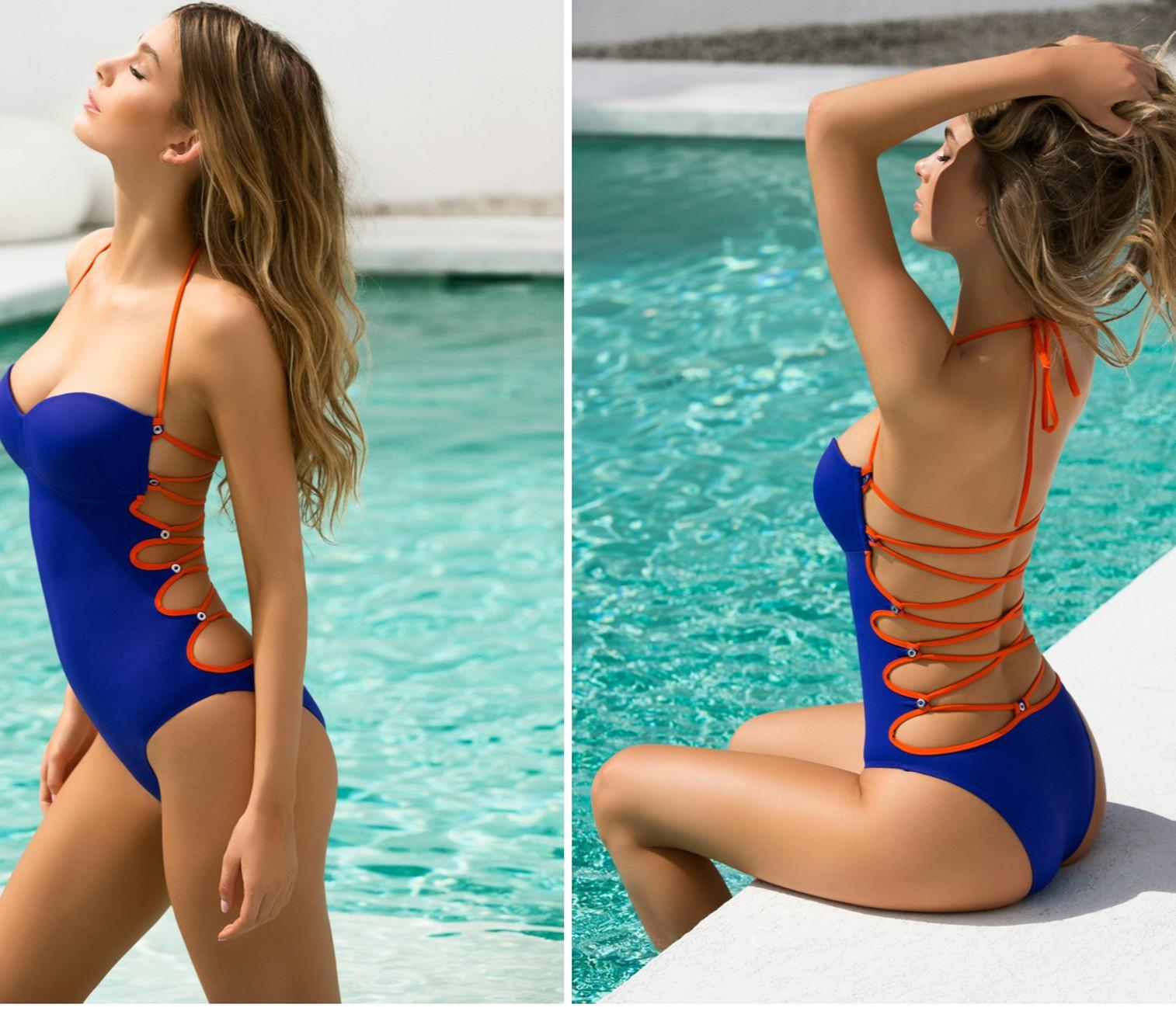 1ba56f58861 2019 One Piece Swimsuit Sexy Swimwear Bathing Suit Open Back Hollow Out  Biquini Bandage Monokini Swimsuits From Linpark