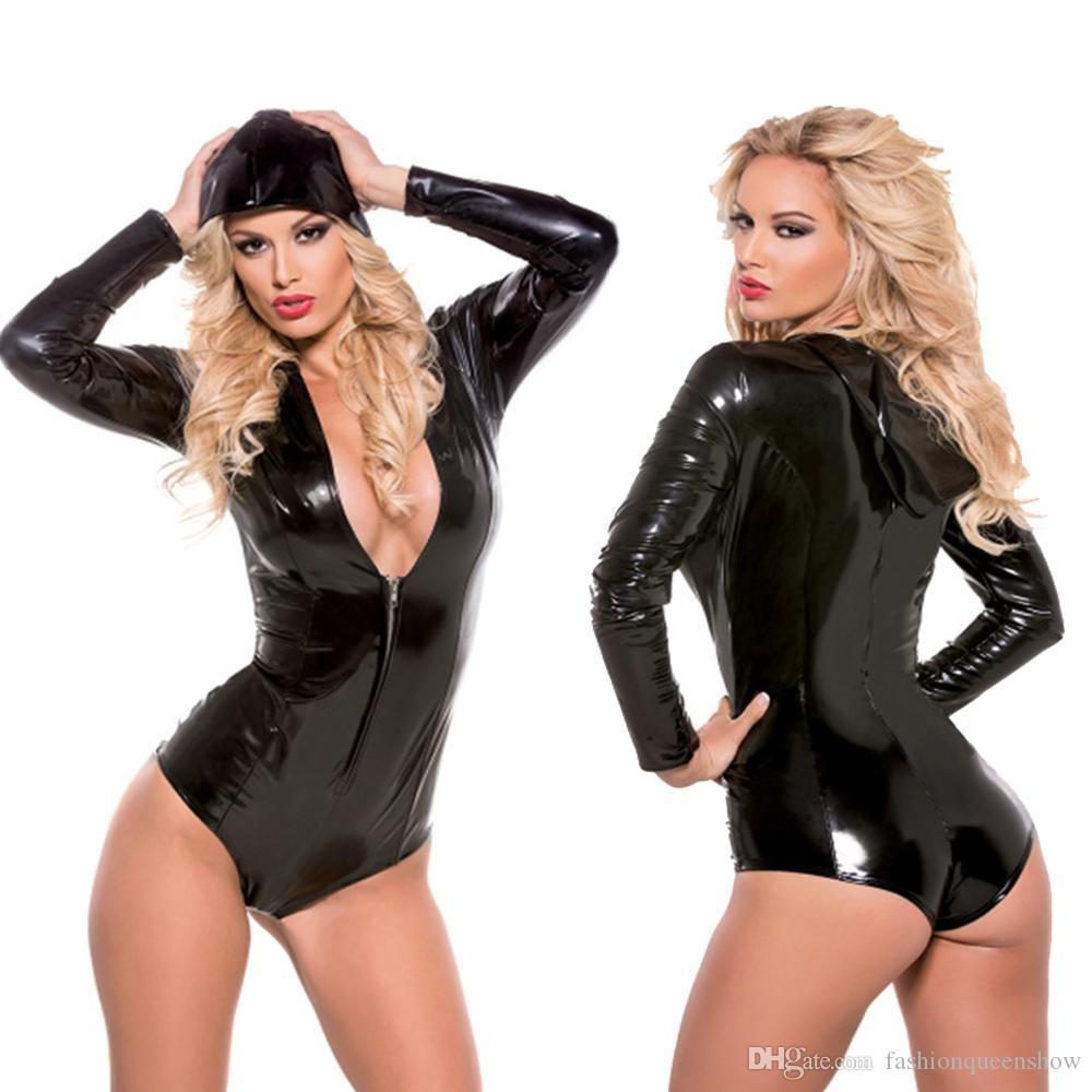 Cool Black Hooded Bodysuit Sexy Frauen Zipper Langarm-Catsuit mit tiefem V-Ausschnitt Club Wear Stripper Tanz-Kostüm