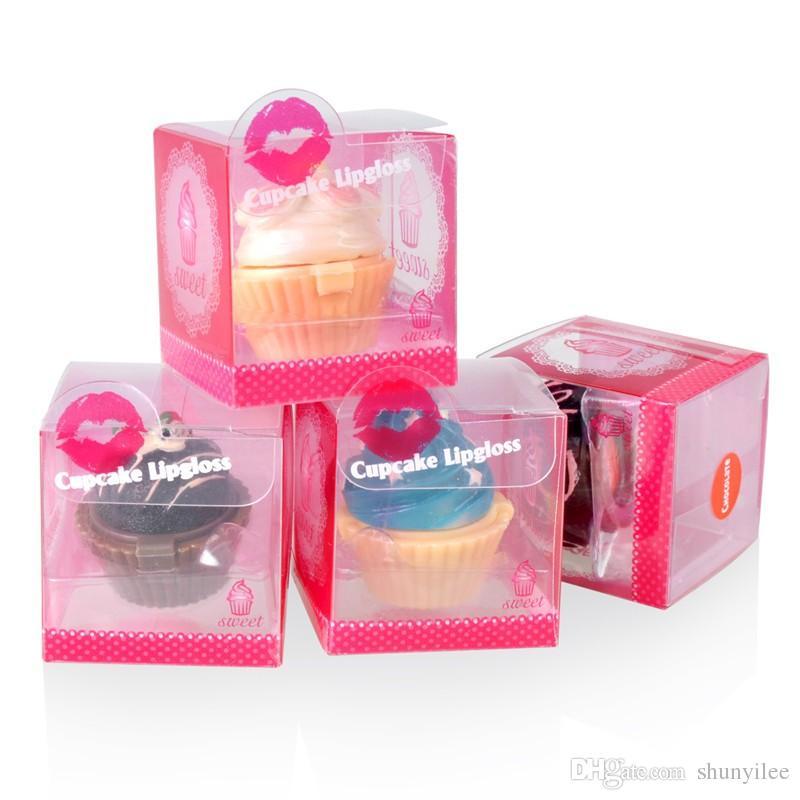 Cupcake Lip Gloss Balm 6 Flavoured Glosses Balm Christmas Secret Santa Lipgloss lipstick Cake Chocolate Cherry Strawberry Cream Gift ZA2451