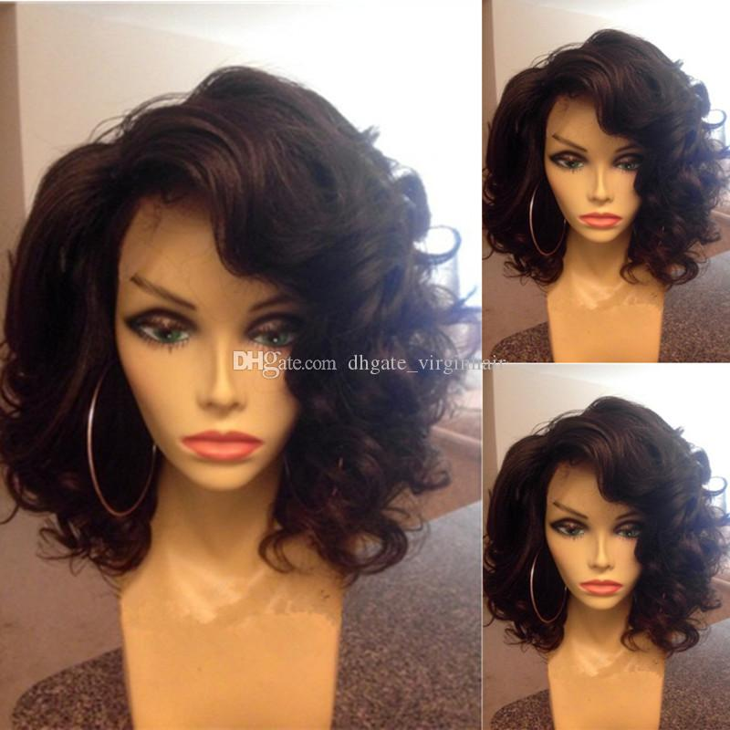 Glueless Full Lace Wigs Virgin Brazilian Short Wavy Bob Full Lace ... 230b25170c95