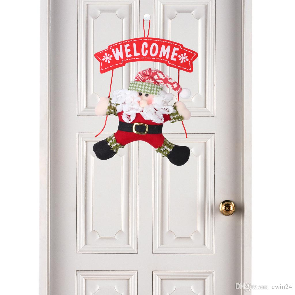 Ornement de pendaison de porte de Noël avec le père Noël Claus bonhomme de neige Décoration de Noël Hanger 13.78 * 7.87inch