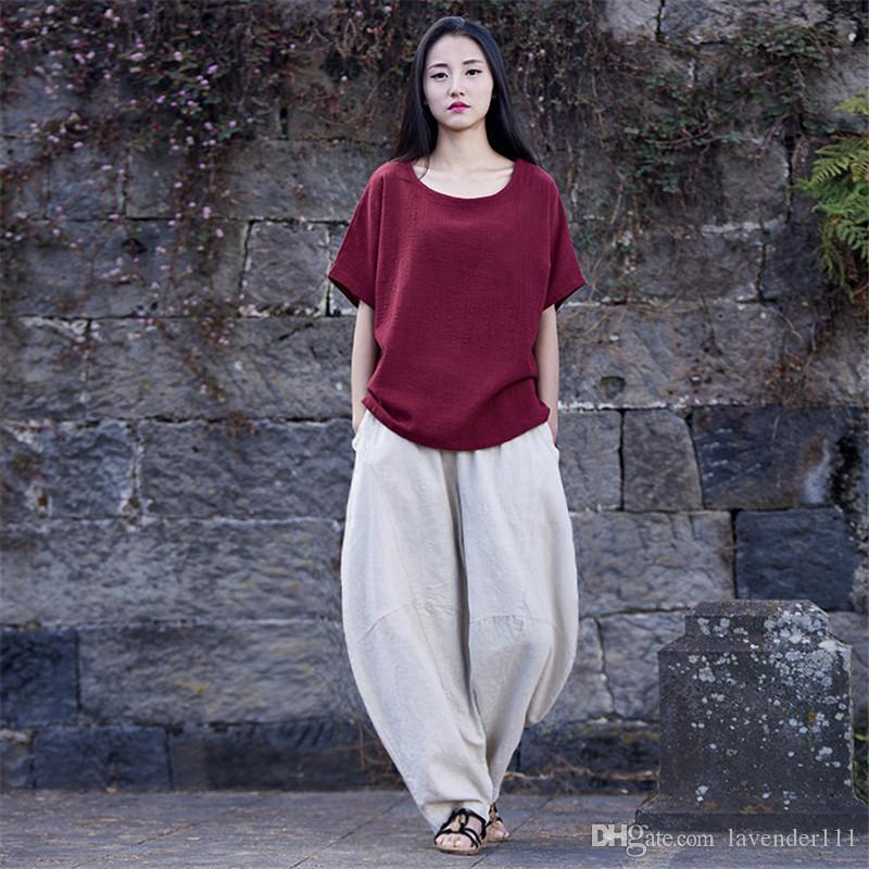 ed9c81e0f6b 2018 Spring Summer New Women Pants Cotton Linen Full Length Chinese Stlye  Solid Soft Loose Wide Leg Pants From Lavender111