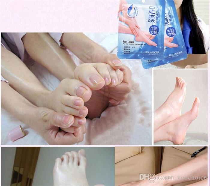 Feet Peeling Renewal Milk and Bamboo Vinegar Feet Mask Remove Dead Skin Smooth Exfoliating Socks Foot Care Socks For Pedicure