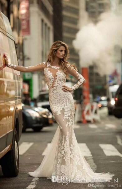 Sexy 2019 Berta Mermaid Abiti da sposa Illusion maniche lunghe Backless pizzo Appliqued Sheer Tulle Beach Abiti da sposa Custom Made EN90410