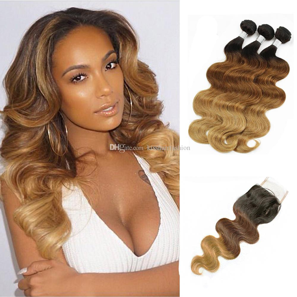 T4 30 27 Ombre Human Hair Weave 3 Bundles With Lace Closure Body