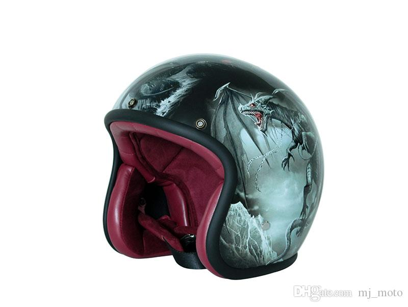 2017 Fashion Vintage Motorcycle helmet Men 3/4 Open face retro half Women Scooter helmets Tyrannosaur Moto Casco DOT
