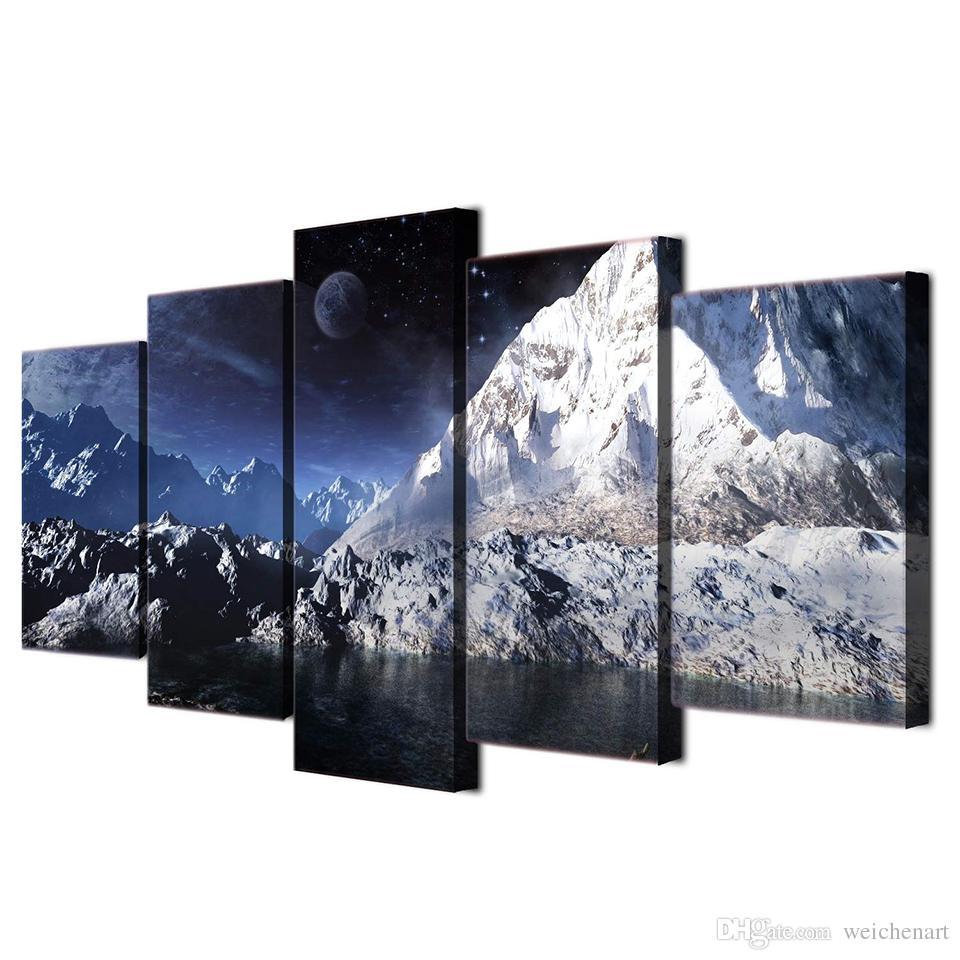 5 Panel HD Baskılı Duvar Tuval Boyama Oda Dekorasyon Ay Manzara Kar Dağ Göl Yağlıboya Baskılı Resim Duvar Sanatı Boyama