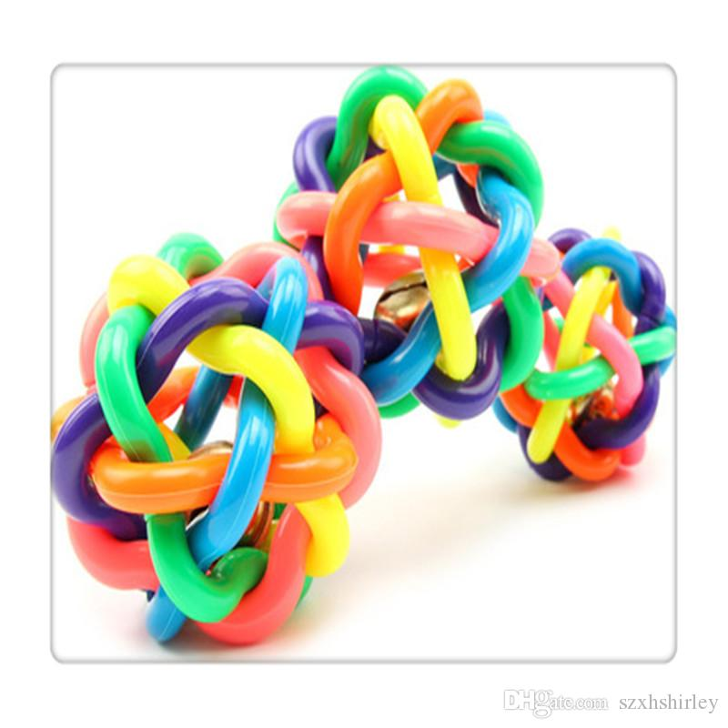 Wholesale Pet Supplies Rubber Balls Braided Rope Balls Chew Knot Toy Dog Cat Toy For Puppy Medium Large Dog Playing Chewing Free DHL